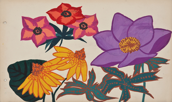 "Martine Le Course Pour Pour Maison Paul Poiret (1879-1944), France,  Design Project: Anemones,  c. 1910, pencil and gouache on paper, 11 x 14 1/4"" framed"