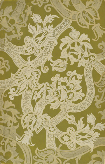 Emile Didier (Lyon, 1890-1965), France,  Lace Design , gouache on paper, 19 x 12 3/8""