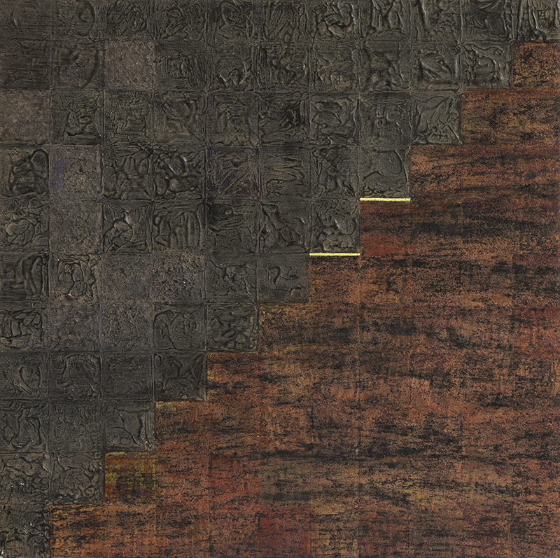 Pat Adams,  As Necessary , 2003, mixed media on paper, wood mounted, 11 x 11""
