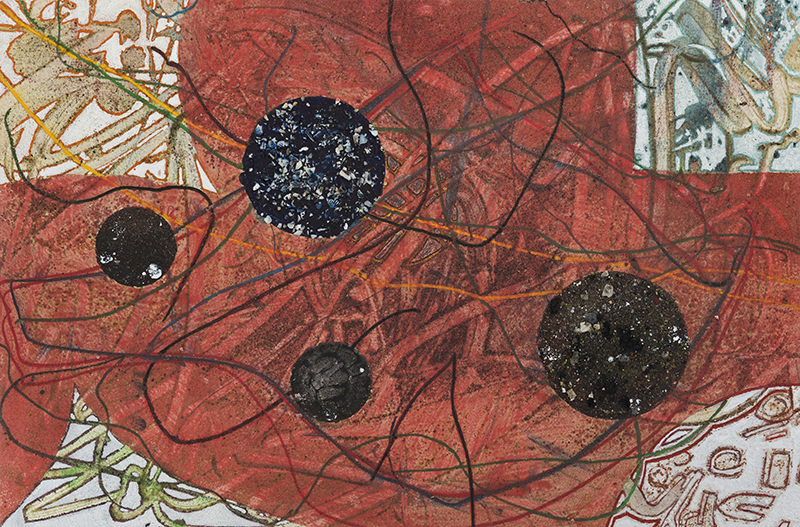 """Pat Adams,  Coming From I , 2005, mixed media on paper, wood mounted, 13 1/2 x 20 1/2"""""""