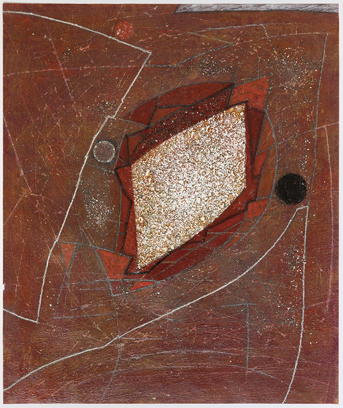 Pat Adams,  Then Found , 2012, mixed media on paper, 17 x 14 3/4""