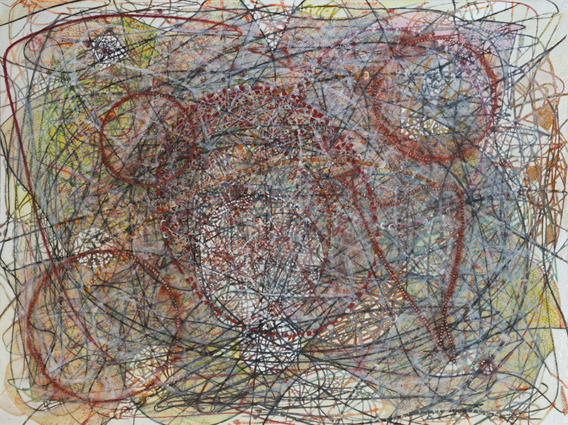 """Pat Adams,  They Say , 2016, mixed media on paper,22 1/4 x 29 3/4"""""""