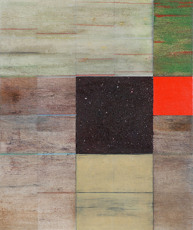 "Pat Adams,  Where It Goes , 2002, mixed media on linen, 39 x 32 1/2"""