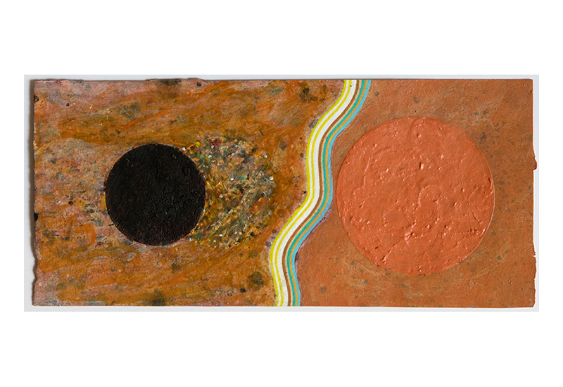 Pat Adams,  Not Or , 1998, mixed media on paper, 4 1/4 x 9 1/4""