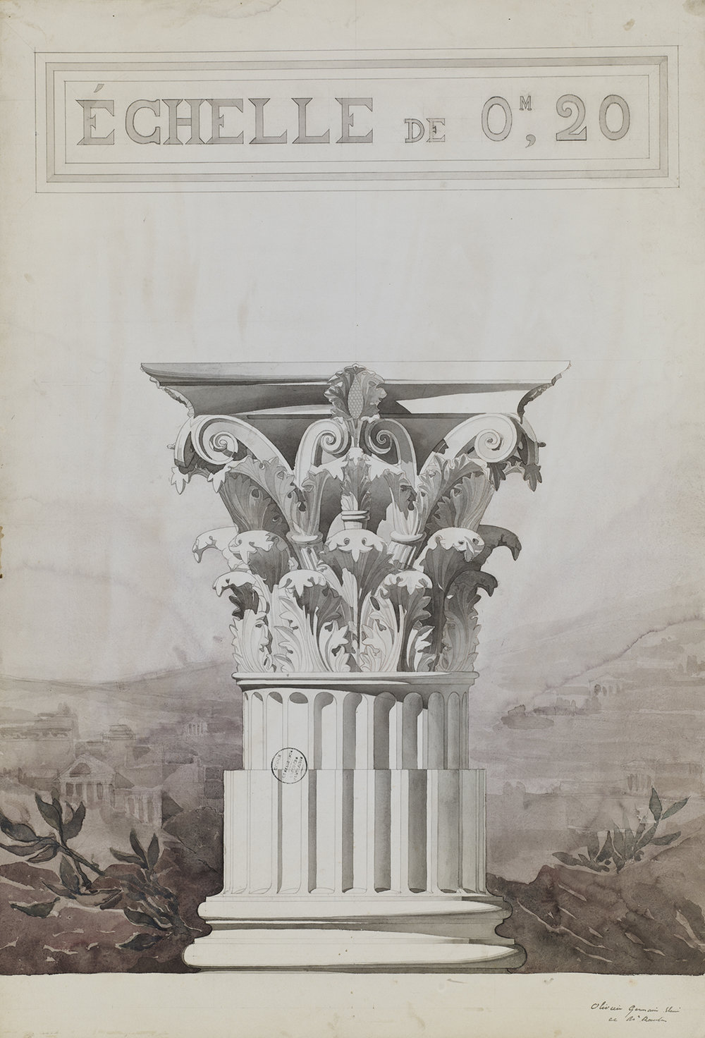 "Jules-Germain Olivier (French, 1869-1940),  Study of a Corinthian Column Capital,  c. 1890, pencil and watercolor on paper, 43 3/4 x 31 7/8"" framed"
