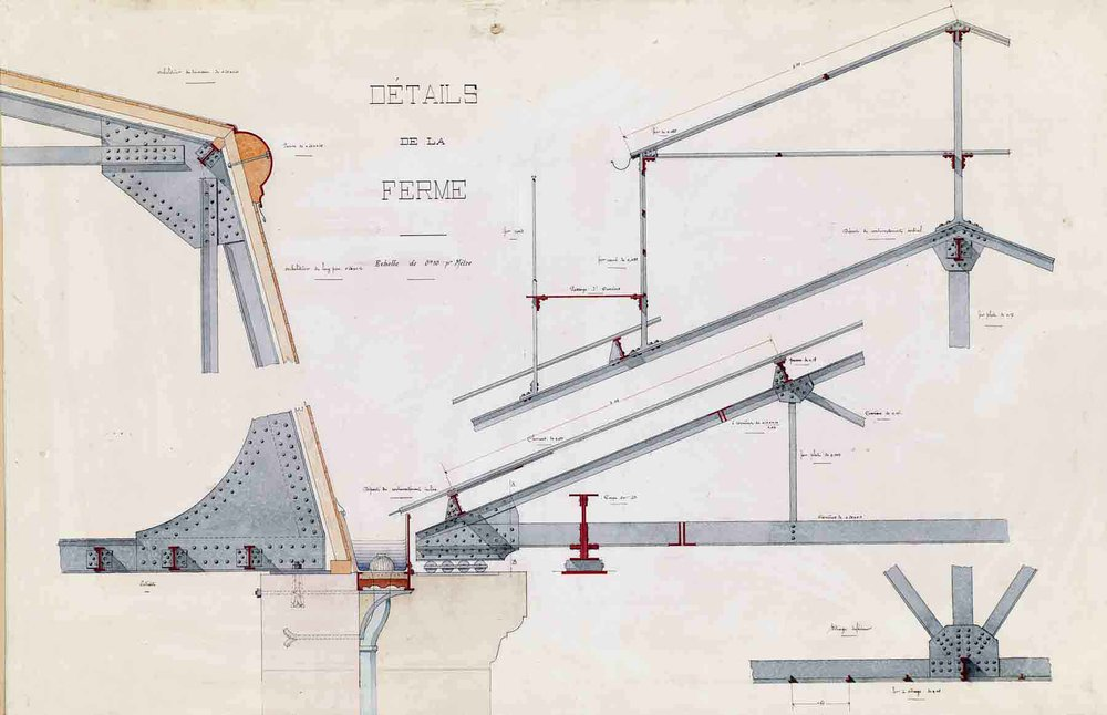 """Jules-Germain Olivier (French, 1869-1940), Ironwork, Details of the Roof Truss , c. 1905, ink and watercolor on paper, 33 1/4 x 44 3/4"""" framed"""