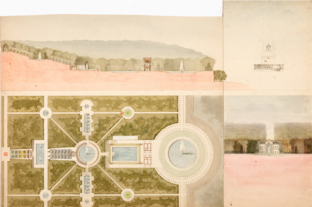 """Leon Dufourny (French, 1754-1818),  Plan for an Italianate Garden and Villa,  late 18th c., watercolor on paper, two attached sheets: 10 1/2 (11 1/4) x 17 1/4"""""""