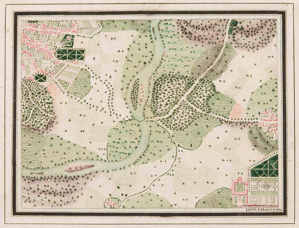 """Lyver (French, 18th century),  Land Survey,  1779, ink and watercolor on paper, 17 1/4 x 19 1/4"""" framed"""