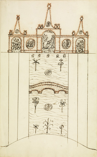 "English School,  Design for a Rocaille Fountain and Tank,  18th c., ink and watercolor on paper, 15 1/2 x 10 1/2"" framed"