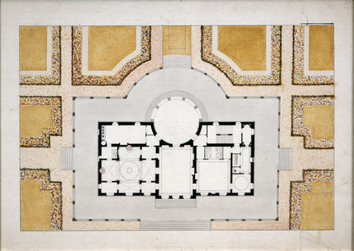 "François Leonard Seheult (French, 1771-1840),   Plan of Building and Grounds,  c. 1800, pencil, ink and watercolor on paper, 16 3/4 x 22 1/4"" framed"