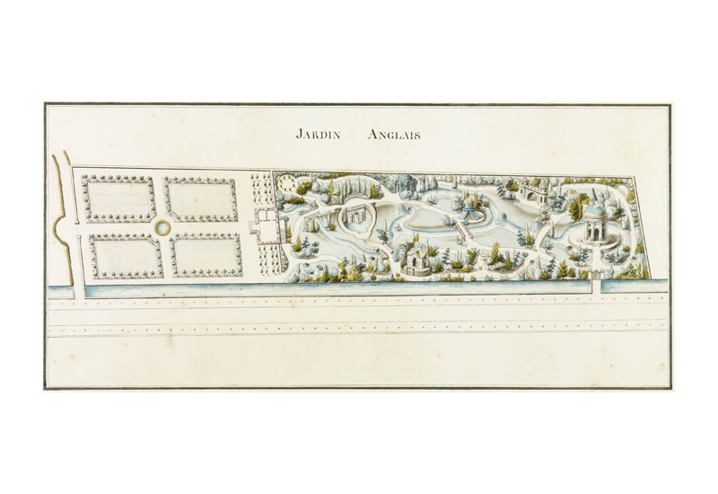 """French School, Jardin Anglais: Project for an English Landscape Garden , c. 1785,pen and ink with watercolor on paper, 15 1/4 x 24 1/2"""" framed"""