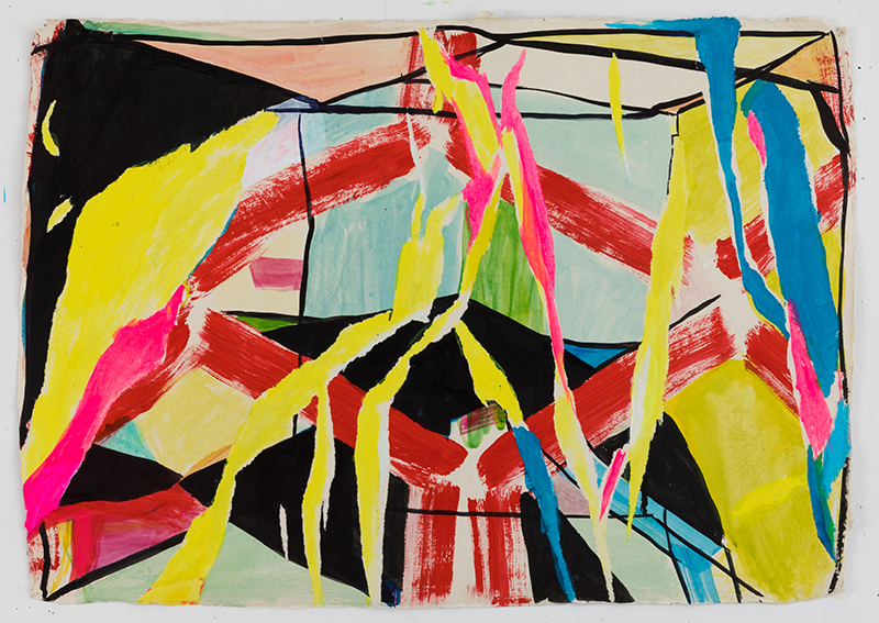 "Laura Newman, Burn , 2017, acrylic, ink and flashe on handmade wasli paper, 22 x 30"""