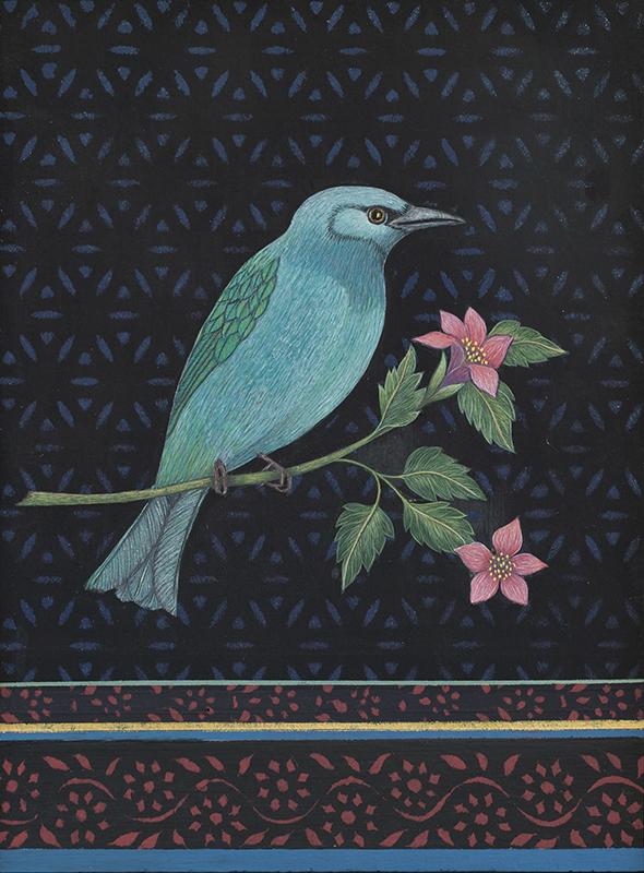 "Antonia Munroe,  A Fairy Bluebird , 2018, pigment dispersion on panel, 8 3/4 x 6 3/4"" framed"