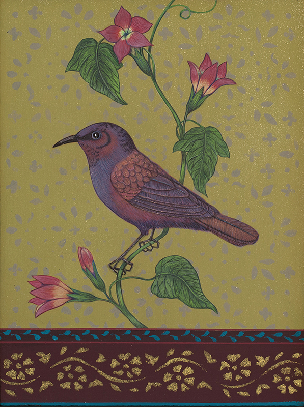 "Antonia Munroe,  A Green Violet-eared Hummingbird , 2018, pigment dispersion on panel, 8 3/4 x 6 3/4"" framed"