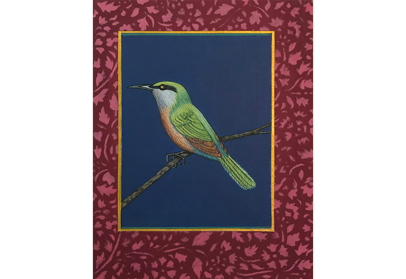 "Antonia Munroe,  The Somali Bee-Eater , 2018, pigment dispersion on panel, 8 3/4 x 6 3/4"" framed"