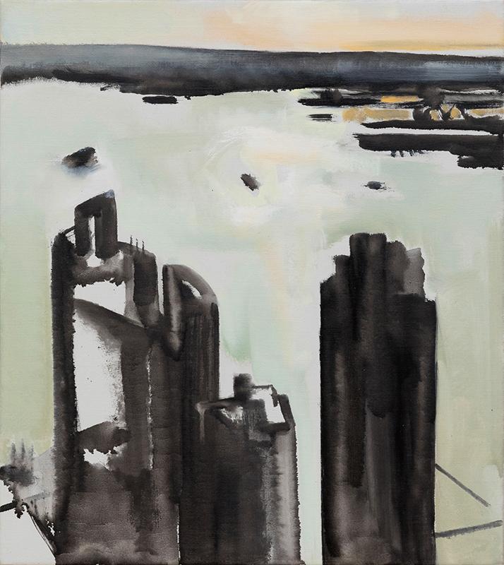 """Jacqueline Gourevitch,  Winter Harbor,  2011, oil on linen, 20 x 18"""""""