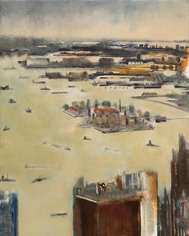 "Jacqueline Gourevitch,  Harbor with Ellis Island , 2009, oil on linen, 20 x 16"""