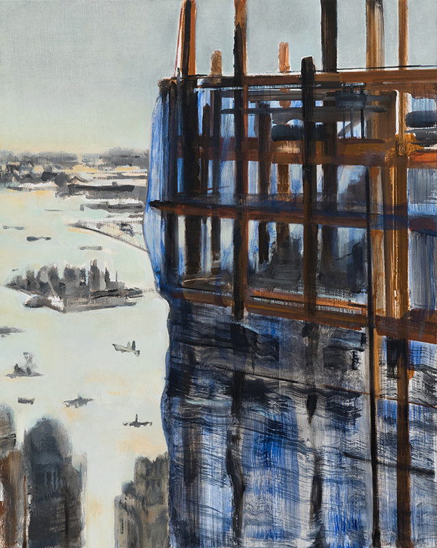 """Jacqueline Gourevitch,  Tower #1 with Ellis Island , 2011, oil on panel, 20 x 16"""""""