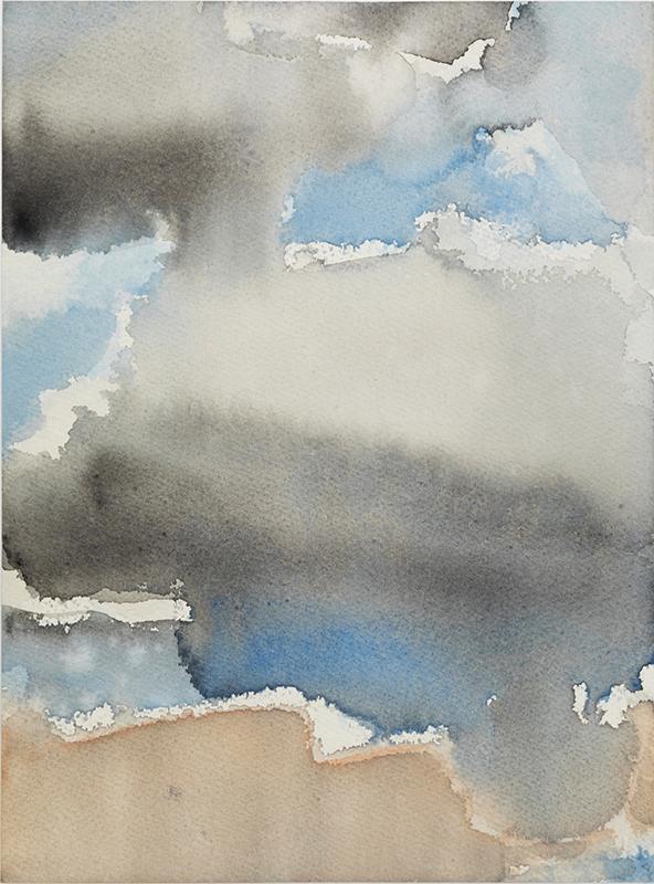 "Jacqueline Gourevitch,  Clouds, 8.2015,  watercolor on paper, 12 x 9"""
