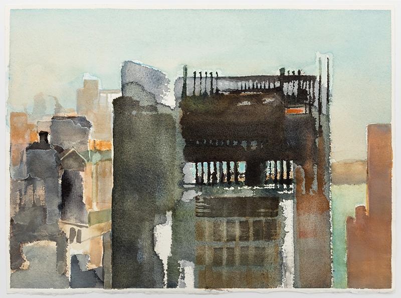 """Jacqueline Gourevitch,  Deconstruction #1, 4.2007 , watercolor on paper, 11 1/4 x 15"""""""