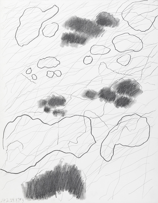 """Jacqueline Gourevitch,  Clouds, Shadows, Water, 2.24.1997 #3 , graphite on paper, 14 x 11"""""""