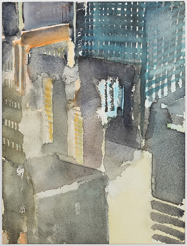 """Jacqueline Gourevitch,  Night Offices , 2003, watercolor on paper, 12 x 9"""""""