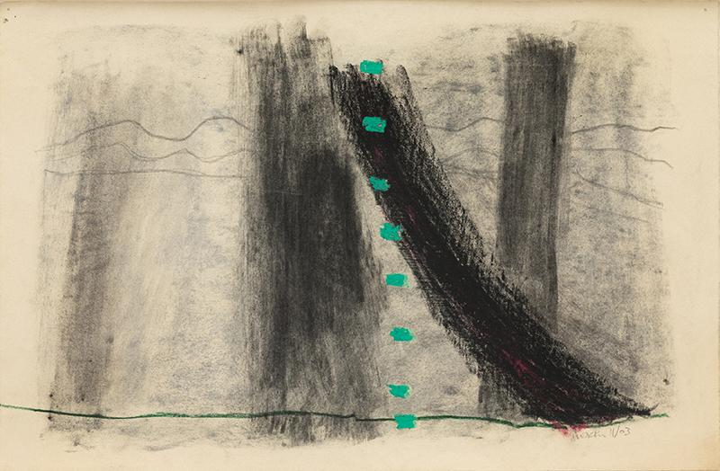 "Elizabeth Dworkin,  Untitled , 1994, mixed media on paper, 13 x 20"", 15 x 22"" framed"