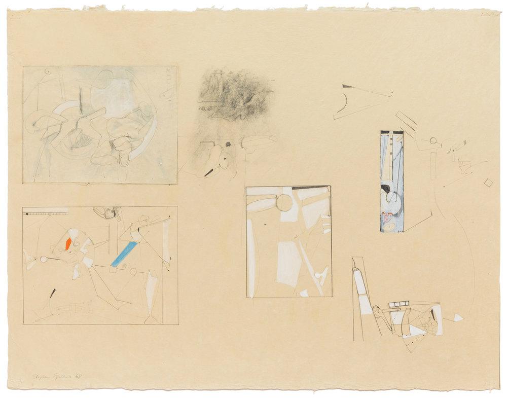 "Stephen Greene,  Biograph 7 , 1968, mixed media on paper, 21 1/4 x 27 5/8"", 24 1/4 x 31 1/2"" framed"