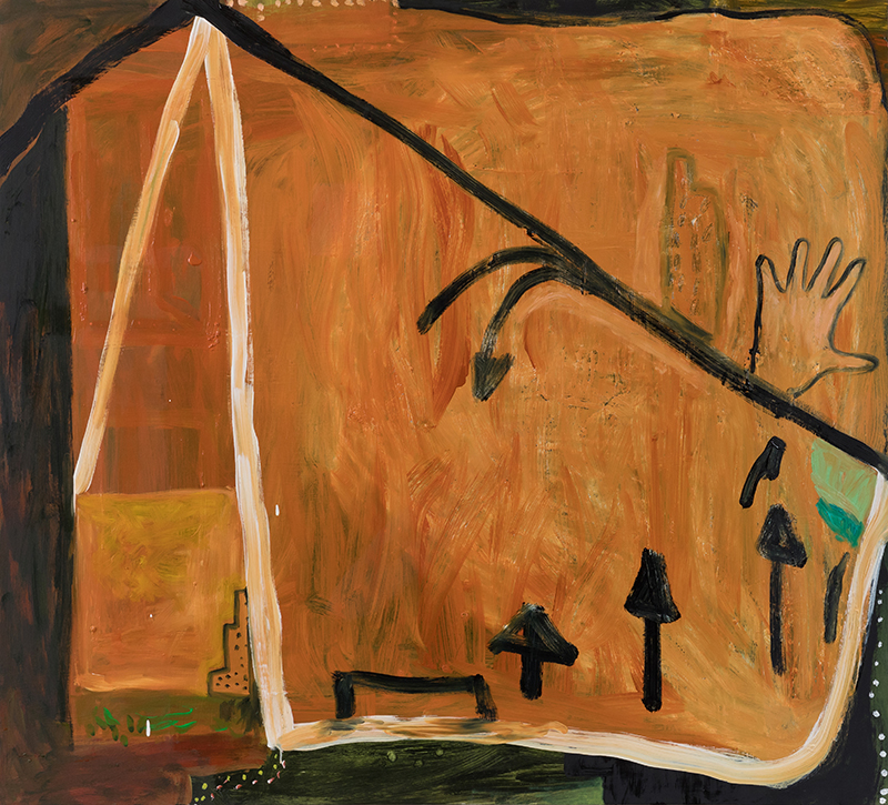 """Elizabeth Dworkin,  Another  Trip, 2015, oil on board, 38 x 40"""""""