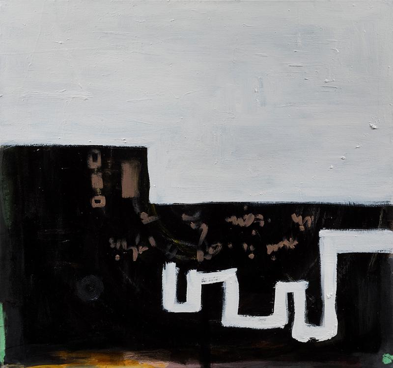 """Elizabeth Dworkin,  Path to School , 2013, 2018, oil on canvas, 30 x 32"""""""