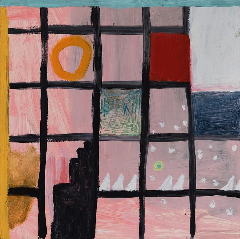 "Elizabeth Dworkin,  Lower Manhattan , 2011, oil on board, 12 x 12"""