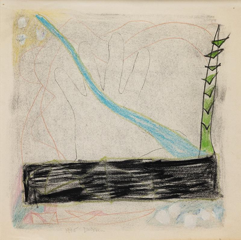 "Elizabeth Dworkin,  #323 , 1995, mixed media on paper, 12 x 12"""