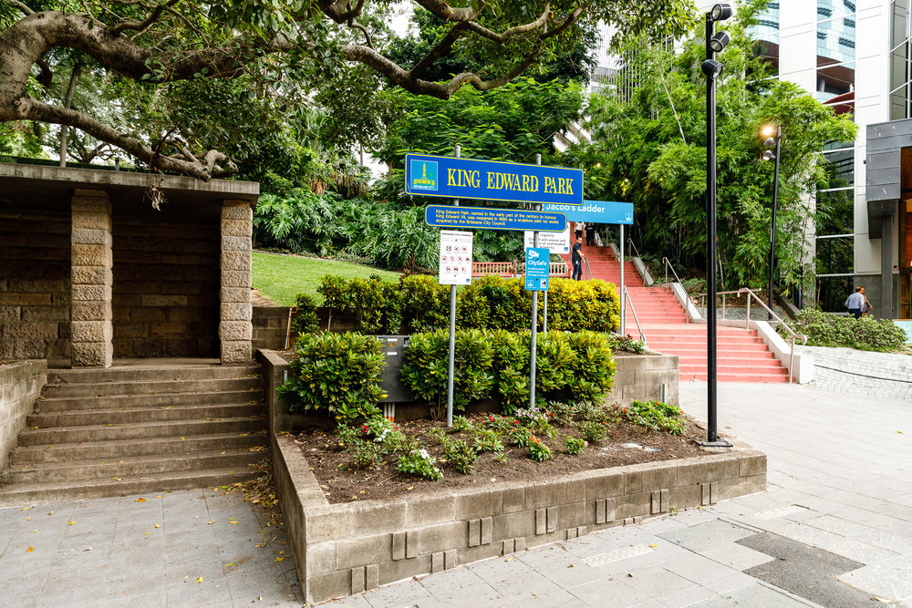 King Edward Park Entrance (200m from 180 Brisbane)