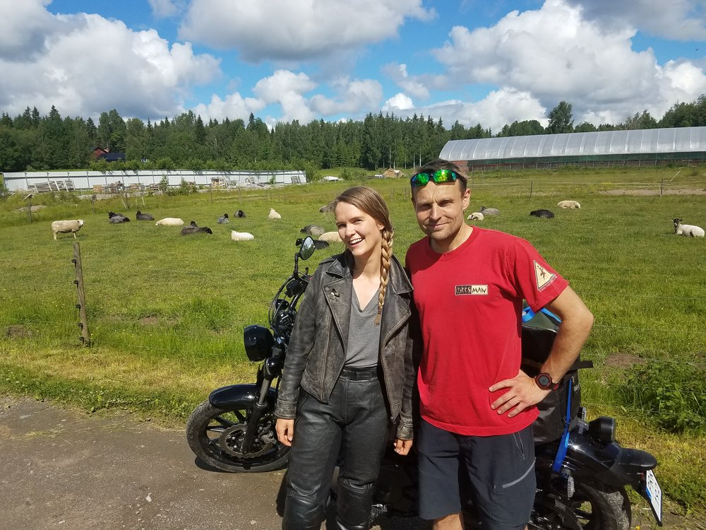 Me and Rassmus on the sheep farm outside of Molkom