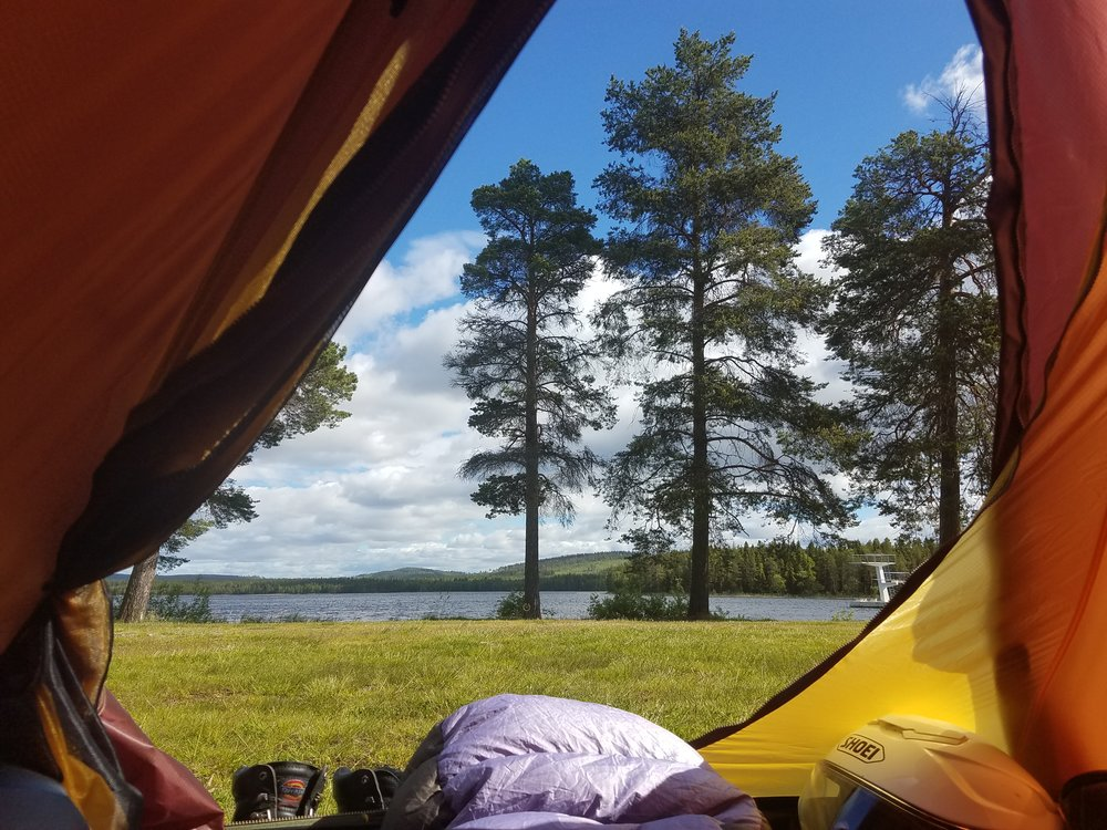 View from the tent in at Saiva Campgrounds in Vilelmina