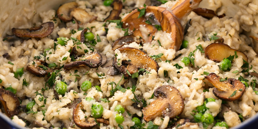 Mushroom Risotto  - Mushroom risotto is one of my favorite meals. If you have a picky eater you can leave out the mushrooms and peas as they get added in at the end. I add roasted chicken for the meat eaters (I either roast one at the beginning of the week or pick up an organic rotisserie for $10-$12). Serve with salad and garlic bread to make it extra yum. Tip: Trader Joe's sells frozen Mushroom Risotto, but note that you won't be able to modify it as it is pre-made.