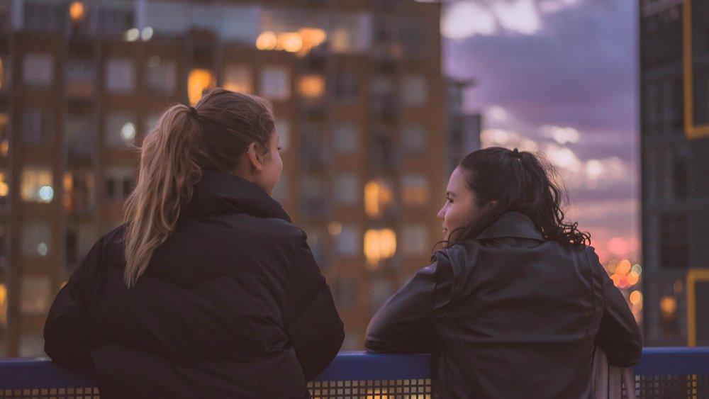 Teens talking in west Los Angeles