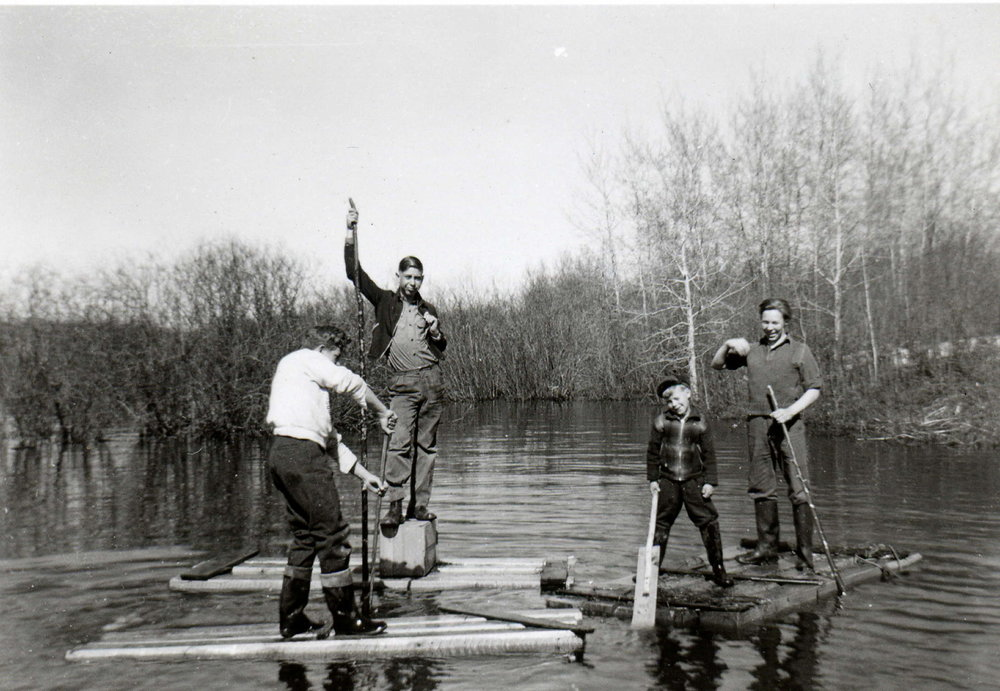 Boys on Raft in Parkvale slew.jpg