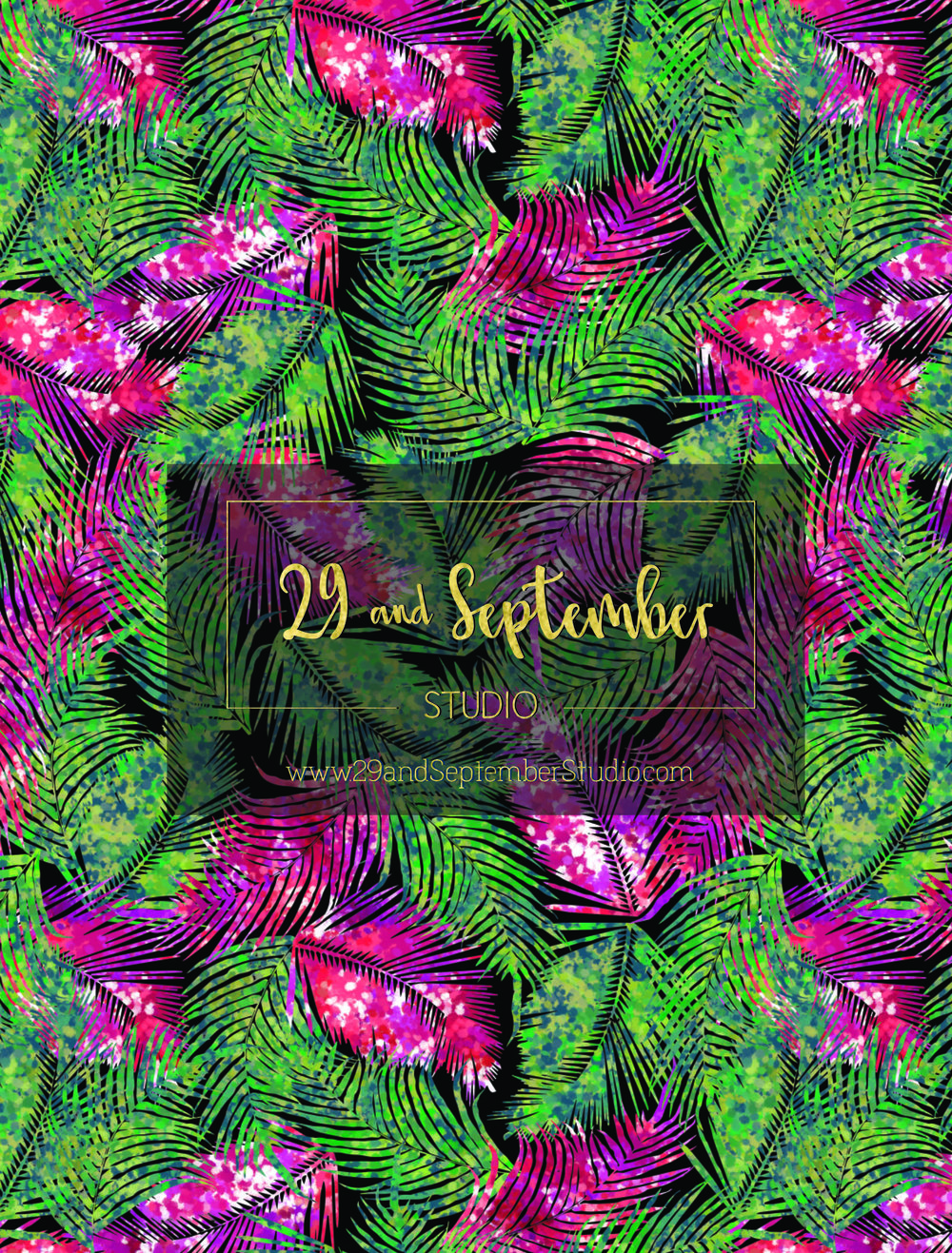 Neon Palm Leaves Print £35