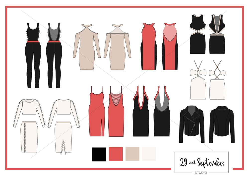 Technical drawings for fashion design by 29andSeptember Studio