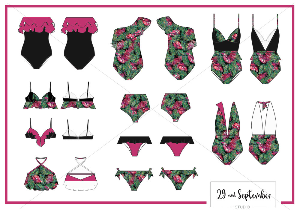Swimwear designs, technical drawings + print designs by 29andSeptember Studio