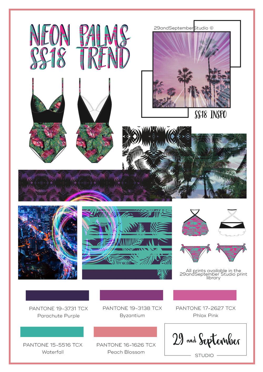 Spring Summer 2018 Swimwear trend, 'Neon palms'