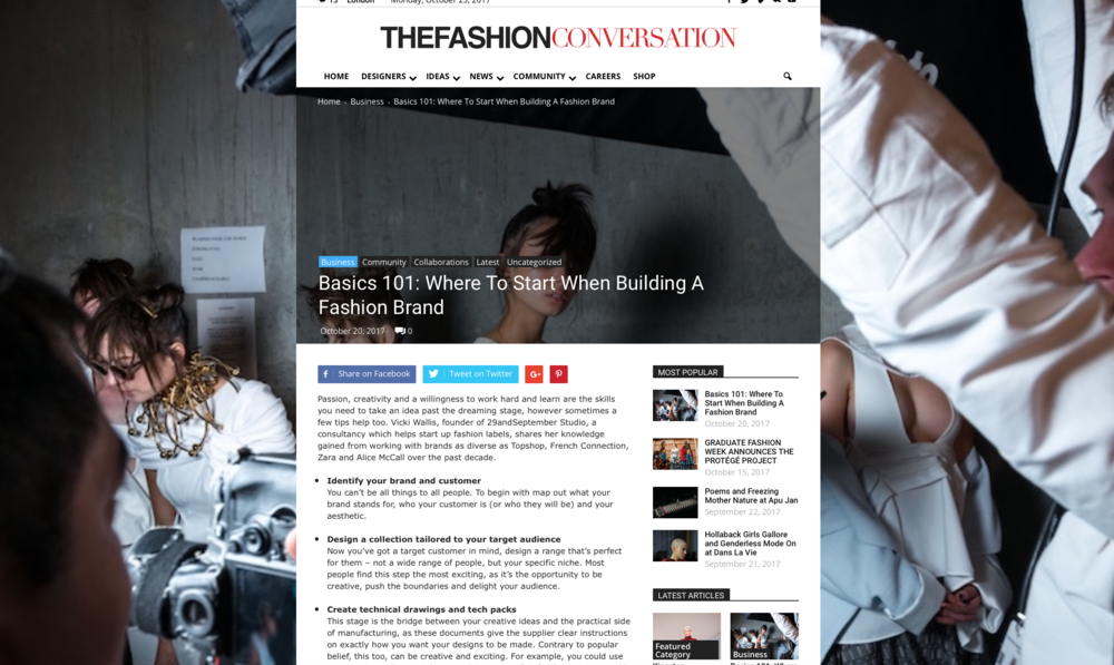 29andSeptember Studio for The Fashion Conversation; Basics 101: Where To Start When Building A Fashion Brand