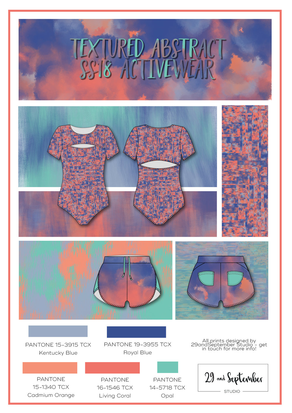 S/S 2018 activewear fashion trends; Textured abstract | Activewear inspiration | technical drawings for fitness apparel by 29andSeptember Studio | Free fashion trend information | WGSN