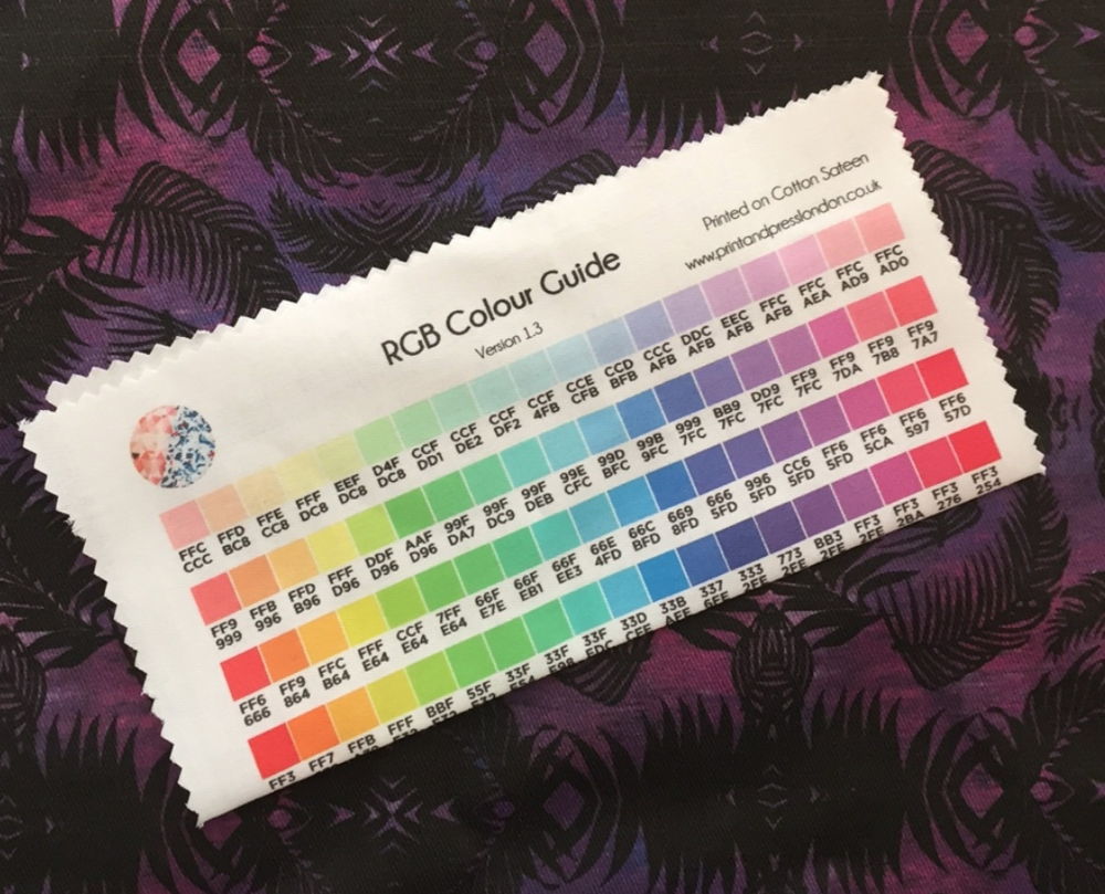 An example of a colour standard printed on fabric, from Print and Press London