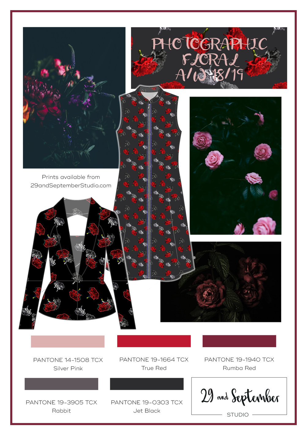 F/W 2018/19 Fashion Trend; Photographic Floral | technical drawings for apparel by 29andSeptember Studio | Free fashion trend information | WGSN