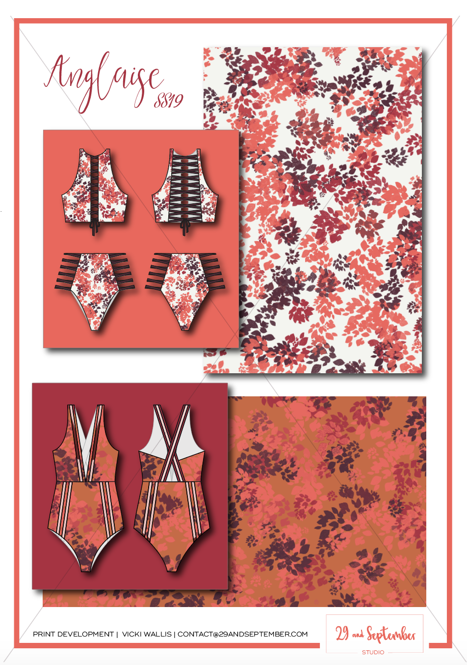 Swimwear inspiration | technical drawings for swimwear | textile print design