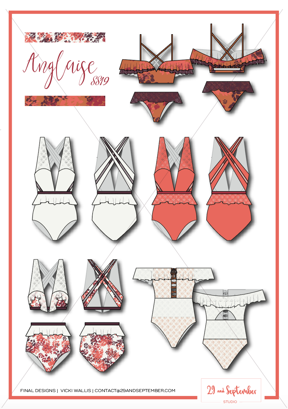 Swimwear inspiration | technical drawings for swimwear