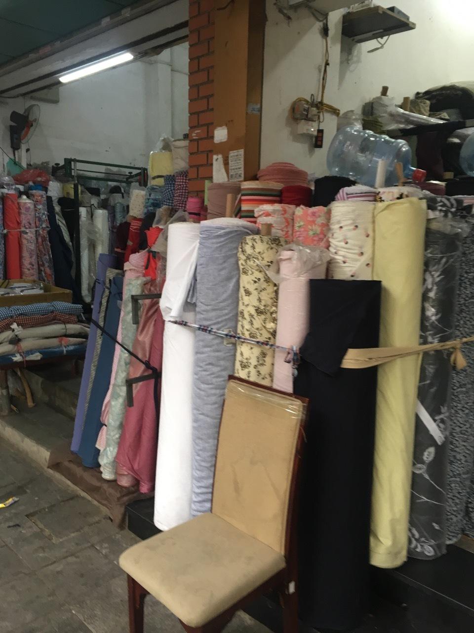Streetside fabric 'shops'