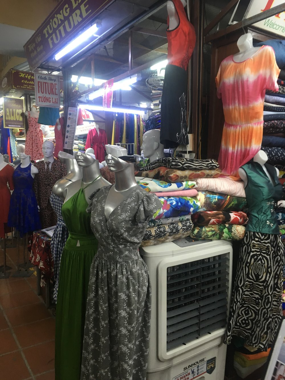 Sewing businesses at the market in Hoi An